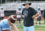 OXFORD CT. 14 August 2017-081417SV03-Oxford High coach Joe Stochmal works with quarterbacks during a practice at the school in Oxford Monday.<br /> Steven Valenti Republican-American