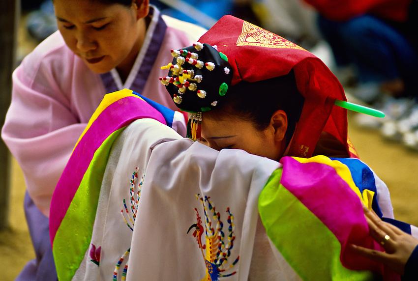 Korean Bride Traditional Wedding Ceremony Folk Village Near Suwon South Korea