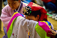 Korean bride, traditional wedding ceremony, Korean Folk Village, near Suwon, South Korea