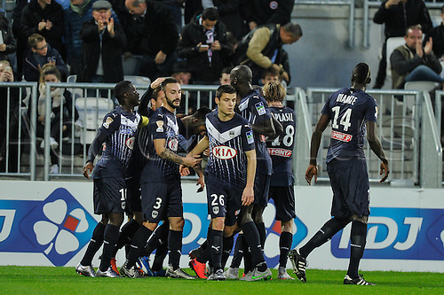 16.12.2015. Bordeaux, France. French League cup football from the Stade Chaban-Delmas. Bordeaux versus Monaco.  Bordeaux celebrate their first goal through Adam Ounas (gir)