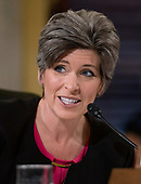 """United States Senator Joni Ernst (Republican of Iowa) questions witnesses during testimony before the US Senate Committee on Armed Services Subcommittee on Readiness and Management Support during a hearing titled """"US Air Force Readiness"""" on Capitol Hill in Washington, DC on Wednesday, October 10, 2018.<br /> Credit: Ron Sachs / CNP"""
