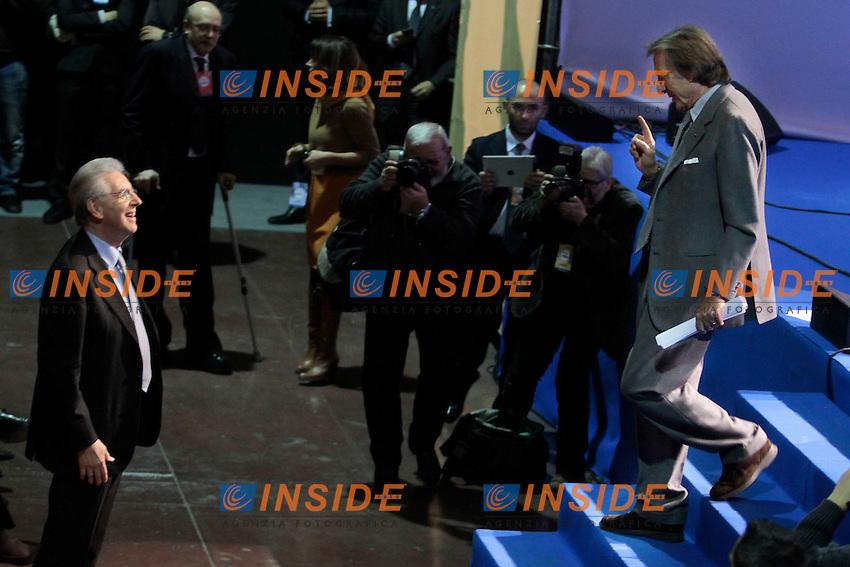 Mario Monti e Luca Cordero di Montezemolo.Roma 15/02/2013 Teatro Atlantico. Incontro con i candidati e i sostenitori di Scelta Civica.  .Meeting with the candidates for Lista Civica at the next elections..Photo Samantha Zucchi Insidefoto