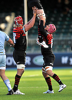 Hendon, England. Nick Fenton-Wells and Mouritz Botha of Saracens in the line out during the LV= Cup match for the first professional rugby game on the artificial turf pitch made for rugby between Saracens and Cardiff Blues at Allianz Park Stadium on January 27, 2013 in Hendon, England.