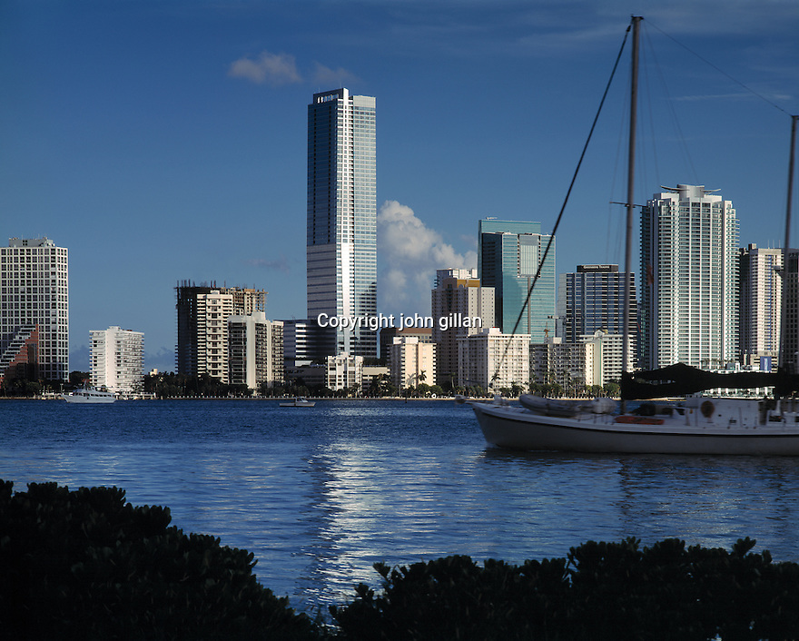 View of Miami skyline from Key Biscayne.