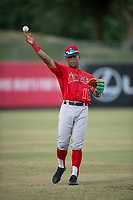 AZL Angels left fielder Datren Bray (16) warms up between innings of an Arizona League game against the AZL Diamondbacks at Tempe Diablo Stadium on June 27, 2018 in Tempe, Arizona. The AZL Angels defeated the AZL Diamondbacks 5-3. (Zachary Lucy/Four Seam Images)