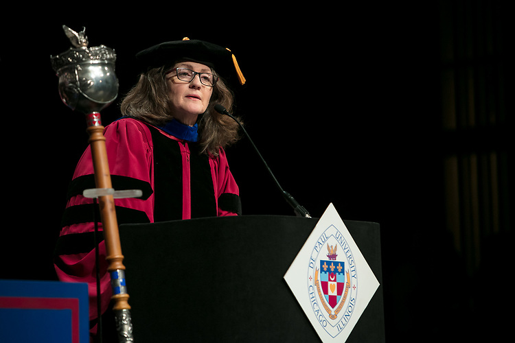 Corinne L. Benedetto, associate professor and associate dean, serves as the university marshal Saturday, June 10, 2017, during the DePaul University School for New Learning commencement ceremony at the Rosemont Theatre in Rosemont, IL. (DePaul University/Jeff Carrion)