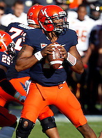 Virginia Cavaliers quarterback Phillip Sims (14) prepares to throw during the game against Maryland in Charlottesville, Va. Maryland defeated Virginia 27-20.