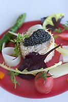"""Europe/France/2A/Corse-du-Sud/Porto-Vecchio: Hotel-Restaurant """"Casadelmar"""" route de Palombaggia- Salade d'Araignée de mer, légumes et caviar français recette de Davide Bisetto"""