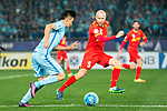 Jiangsu FC Midfielder Tao Yuan (R) fights for the ball with Adelaide United Defender Taylor Regan (R) during the AFC Champions League 2017 Group H match between Jiangsu FC (CHN) vs Adelaide United (AUS) at the Nanjing Olympics Sports Center on 01 March 2017 in Nanjing, China. Photo by Marcio Rodrigo Machado / Power Sport Images