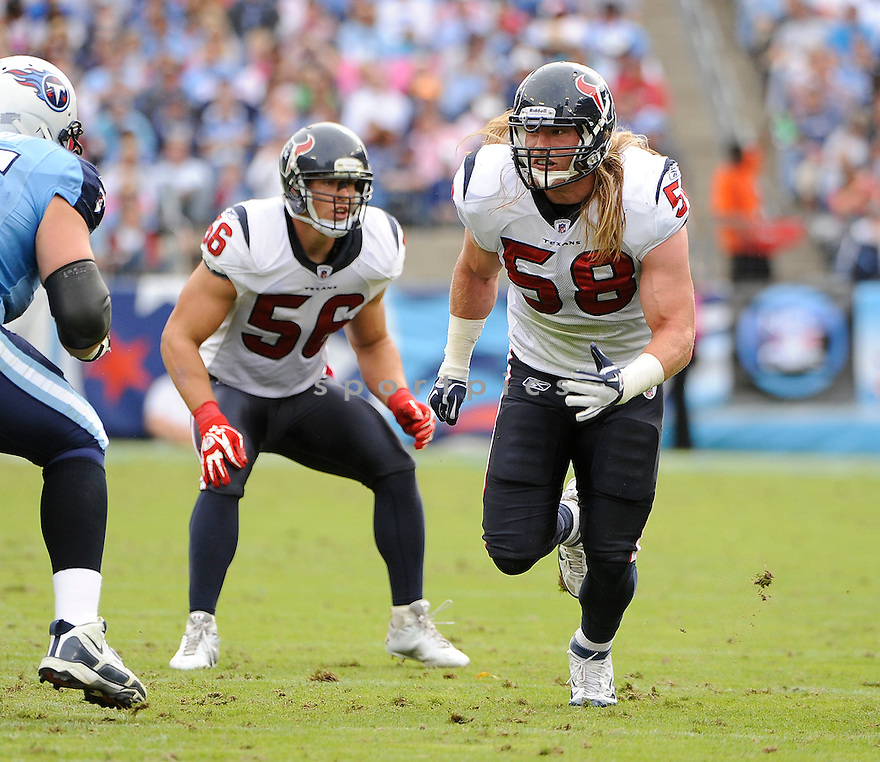 BROOKS REED, of the Houston Texans, in action during the Texans game against the Tennessee Titans on October 23, 2011 at LP Field in Nashville, TN. The Texans beat the Titans 41-7.