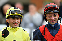 Jockeys Andrea Atzeni left and Adam Beshizza during Afternoon Racing at Salisbury Racecourse on 4th October 2017