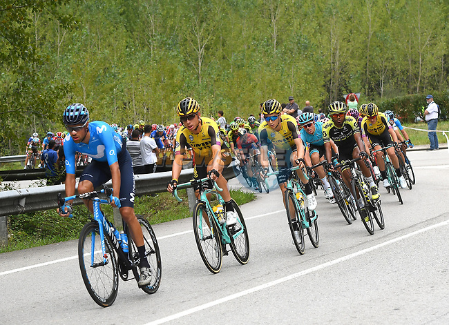 The peloton during Stage 16 of La Vuelta 2019  running 144.4km from Pravia to Alto de La Cubilla. Lena, Spain. 9th September 2019.<br /> Picture: Karlis   Cyclefile<br /> <br /> All photos usage must carry mandatory copyright credit (© Cyclefile   Karlis)