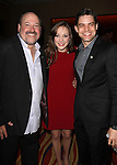Frank Wildhorn, Laura Osnes & Jeremy Jordan.Behind the Scenes at the 2012 Tony Award-Meet The Nominees Press Reception at Millennium Broadway Hotel on May 2, 2012 in New York City. © Walter McBride/WM Photography .
