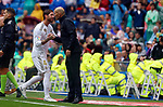 Real Madrid CF's Sergio Ramos and Real Madrid CF's Zinedine Zidane during La Liga match. Aug 24, 2019. (ALTERPHOTOS/Manu R.B.)