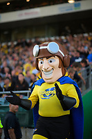 Captain Hurricane leads the Hurricanes out for the Super Rugby match between the Hurricanes and Brumbies at CET Arena in Palmerston North, New Zealand on Friday, 1 March 2019. Photo: Dave Lintott / lintottphoto.co.nz