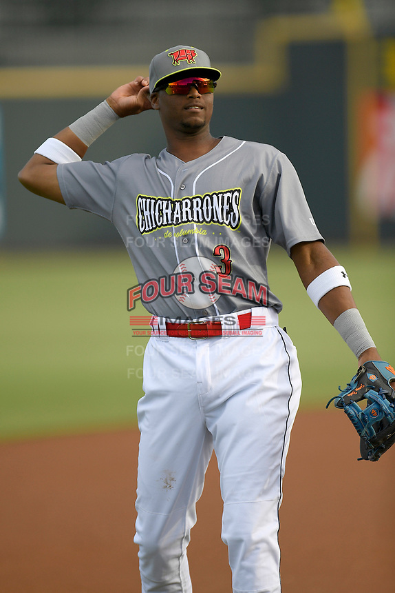 Shortstop Shervyen Newton (3) of the Columbia Fireflies, playing as the Chicharrones de Columbia, in a game against the Charleston RiverDogs on Friday, July 12, 2019 at Segra Park in Columbia, South Carolina. The RiverDogs won, 4-3, in 10 innings. (Tom Priddy/Four Seam Images)