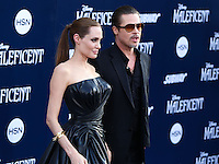 HOLLYWOOD, LOS ANGELES, CA, USA - MAY 28: Actors Angelina Jolie and Brad Pitt arrive at the World Premiere Of Disney's 'Maleficent' held at the El Capitan Theatre on May 28, 2014 in Hollywood, Los Angeles, California, United States. (Photo by Xavier Collin/Celebrity Monitor)