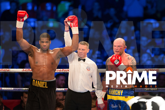 Daniel Dubois has his arm raised after his win during 10 X 3 Minute Rounds Heavyweight Contest DANIEL DUBOIS 17st 1lb V DORIAN DARCH 16st 5lbs during the Boys are back in town - Frank Warren Boxing event at the Copper Box Arena, London, England on 9 December 2017. Photo by Andy Rowland.