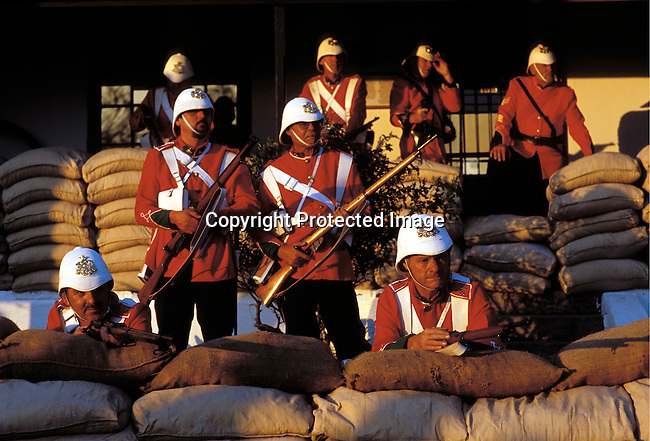 dicuafr00014 Culture Afrikaners British soldiers taking part of an re-enactment of the defence of Rorke's drift, a big battle from the Anglo-Boer war, during a yearly performance on September 27, 2002 in Dundee in Natal province, South Africa. .Photo: Per-Anders Pettersson/iAfrika Photos