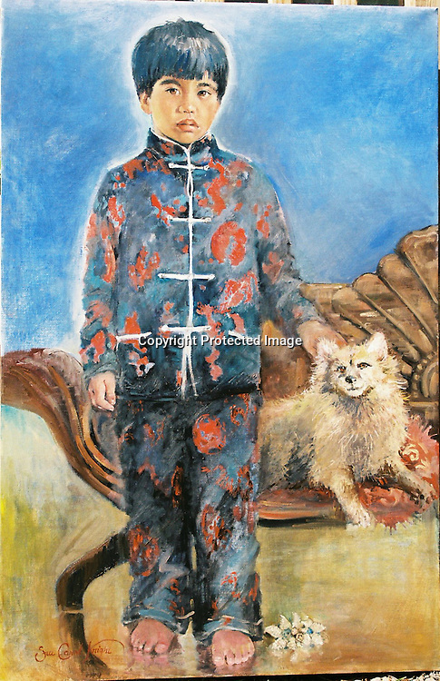 Boy with dog oil portrait