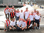 The Oars of hope crew pictured after they rowed from the Isle of Man. Photo: www.colinbellphotos.com