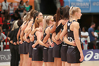 28.01.2017 Silver Ferns Katrina Grant (r) and her team line up for the anthems during the Silver Ferns v Australian Diamonds netball test match played at the International Convention Centre studium in Durban, South Africa.<br />  Mandatory Photo Credit ©Reg Caldecott/Michael Bradley Photography.