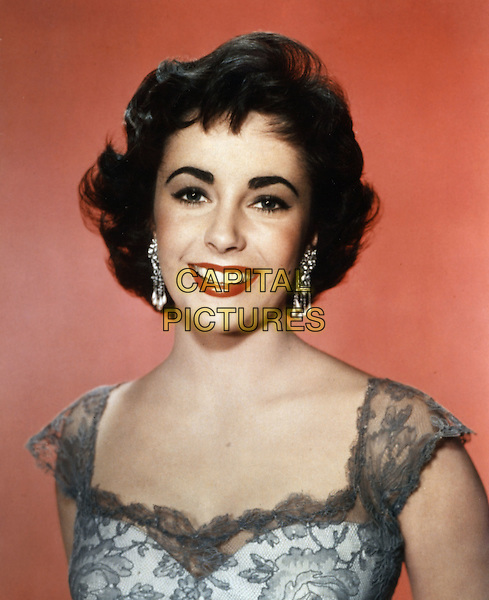 ELIZABETH TAYLOR.headshot portrait grey gray white lace.*Editorial Use Only*.CAP/STF/PEL.Supplied by Capital Pictures.