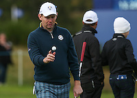 Stephen Gallacher (EUR) during the first practice day ahead of the 2014 Ryder Cup at Gleneagles, Perthshire, Scotland 26th to 28th September 2014. Picture David Lloyd / www.golffile.ie.