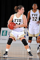 12 January 2012:  FIU guard Carmen Miloglav (24) handles the ball in the first half as the Middle Tennessee State University Blue Raiders defeated the FIU Golden Panthers, 74-60, at the U.S. Century Bank Arena in Miami, Florida.