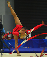 BARRANQUILLA - COLOMBIA, 30-07-2018:Darlyng Pereira (GUA) ,en  gimnasia rítmica .Juegos Centroamericanos y del Caribe Barranquilla 2018. / Darlyn Pereira (GUA)rhythmic gymnastics of the Central American and Caribbean Sports Games Barranquilla 2018. Photo: VizzorImage /  Alfonso Cervantes /Contribuidor