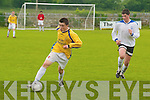 3239  Pace: Killarney Athletics Ed Sullivan about to collide with Killorglins Jesse Sheahan in the under 15s Cup Final at Mounthawk Park, Tralee, on Saturday afternoon..