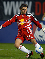 New York Red Bulls goalkeeper Ronald Waterreus (23) kicks the ball during the game. DC United defeated the New York Red Bulls 3-1 at RFK Stadium in Washington DC, Thursday August  22, 2007.