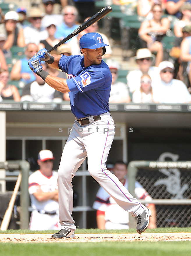 Texas Rangers Alex Rios (51) during a game against the Chicago White Sox on August 25, 2013 at US Cellular Field in Chicago, IL. The White Sox beat the Rangers 5-2.