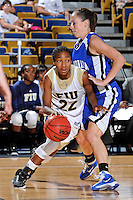 28 November 2010:  FIU guard Jerica Coley (22) drives to the basket in the second half as the FIU Golden Panthers defeated the Indiana State Sycamores, 68-47, to win the 16th annual FIU Thanksgiving Classic at the U.S. Century Bank Arena in Miami, Florida.