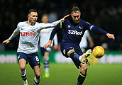 1st February 2019, Deepdale, Preston, England; EFL Championship football, Preston North End versus Derby County; Richard Keogh of Derby County makes a clearance under pressure from Alan Browne of Preston North End