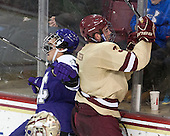 Sean Gustin (HC - 8), Ian McCoshen (BC - 3) - The visiting College of the Holy Cross Crusaders defeated the Boston College Eagles 5-4 on Friday, November 29, 2013, at Kelley Rink in Conte Forum in Chestnut Hill, Massachusetts.