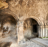 Picture &amp; image of the interior of the one pillar hall Uplistsikhe (Lords Fortress) troglodyte cave city, near Gori, Shida Kartli, Georgia. UNESCO World Heritage Tentative List<br /> <br /> Inhabited from the early Iron age to the late middle ages Uplistsikhe cave city eas, during the Roman &amp; Hellenistic period, home to around 20,000 people.