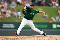 Pitcher Angel Padron (33) of the Greenville Drive delivers a pitch in a game against the Asheville Tourists on Sunday, June 3, 2018, at Fluor Field at the West End in Greenville, South Carolina. Greenville won, 7-6. (Tom Priddy/Four Seam Images)