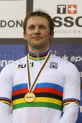 05.03.2016. Lee Valley Velo Centre, Lnodn England. UCI Track Cycling World Championships Mens Individual Sprint Final. Gold medal winner KENNY Jason (GBR) is all smiles