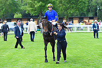 Red Alert ridden by Joesephine Gordon are led into the winners enclosure during Afternoon Racing at Salisbury Racecourse on 13th June 2017