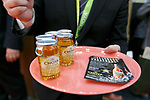 An exhibitor gives Japanese umeshu (plum liqueur) The Choya to visitors at the 42nd International Food and Beverage Exhibition (FOODEX JAPAN 2017) in Makuhari Messe International Convention Complex on March 8, 2017, Chiba, Japan. About 3,282 companies from 77 nations are participating in the Asia's largest food and beverage trade show. This year organizers expect 77,000 visitors for the four-day event, which runs until March 10. (Photo by Rodrigo Reyes Marin/AFLO)
