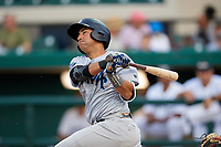 Tampa Tarpons catcher Francisco Diaz (17) follows through on a swing during a game against the Lakeland Flying Tigers on April 5, 2018 at Publix Field at Joker Marchant Stadium in Lakeland, Florida.  Tampa defeated Lakeland 4-2.  (Mike Janes/Four Seam Images)