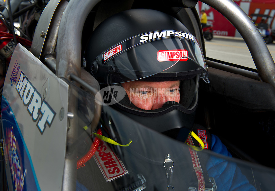 Sept. 4, 2011; Claremont, IN, USA: NHRA top fuel dragster driver Keith Murt during qualifying for the US Nationals at Lucas Oil Raceway. Mandatory Credit: Mark J. Rebilas-