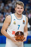 Real Madrid Luka Doncic receive October's MVP award during Turkish Airlines Euroleague match between Real Madrid and Unicaja at Wizink Center in Madrid, Spain. November 16, 2017. (ALTERPHOTOS/Borja B.Hojas) /NortePHoto.com