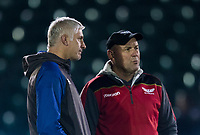 Bath Rugby's Head Coach Todd Blackadder and Scarlets&rsquo; Head Coach Wayne Pivac<br /> <br /> Photographer Bob Bradford/CameraSport<br /> <br /> European Champions Cup Round 5 - Bath Rugby v Scarlets - Friday 12th January 2018 - The Recreation Ground - Bath<br /> <br /> World Copyright &copy; 2018 CameraSport. All rights reserved. 43 Linden Ave. Countesthorpe. Leicester. England. LE8 5PG - Tel: +44 (0) 116 277 4147 - admin@camerasport.com - www.camerasport.com