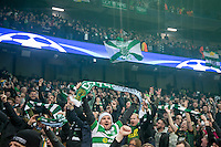 Celtic supporters remain in high spirits after the match during the UEFA Champions League GROUP match between Manchester City and Celtic at the Etihad Stadium, Manchester, England on 6 December 2016. Photo by Andy Rowland.