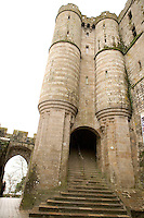 The Châtelet, narrow construction flanked by two tall corbelled turrets and crowned with crenellations reaching as far as the Merveille (Marvel), built in 1393 by Pierre Le Roy (1386 ? 1411) to fortify the entrance to the Abbey, Le Mont Saint Michel, 13th century, thanks to a donation by the king of France, Philip Augustus, Manche, Basse Normandie, France. Picture by Manuel Cohen