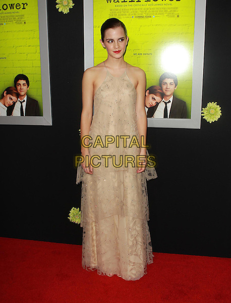 """Emma Watson.Premiere Of Summit Entertainment's """"The Perks Of Being A Wallflower"""" Held At ArcLight Cinemas, Hollywood, California, USA..September 10th, 2012.full length beige sleeveless tiered layered layers dress maxi lace tulle .CAP/ADM/KB.©Kevan Brooks/AdMedia/Capital Pictures."""
