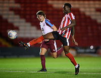 Lincoln City U18's Jordan Adebayo-Smith scores his side's fourth goal, completing his hat-trick<br /> <br /> Photographer Chris Vaughan/CameraSport<br /> <br /> The FA Youth Cup Second Round - Lincoln City U18 v South Shields U18 - Tuesday 13th November 2018 - Sincil Bank - Lincoln<br />  <br /> World Copyright © 2018 CameraSport. All rights reserved. 43 Linden Ave. Countesthorpe. Leicester. England. LE8 5PG - Tel: +44 (0) 116 277 4147 - admin@camerasport.com - www.camerasport.com
