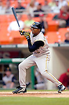 29 June 2005: Tike Redman, outfielder for the Pittsburgh Pirates, at bat during a game against the Washington Nationals. The Nationals rallied to defeat the Pirates 3-2 in a rain delayed game at RFK Stadium in Washington, DC.  Mandatory Photo Credit: Ed Wolfstein
